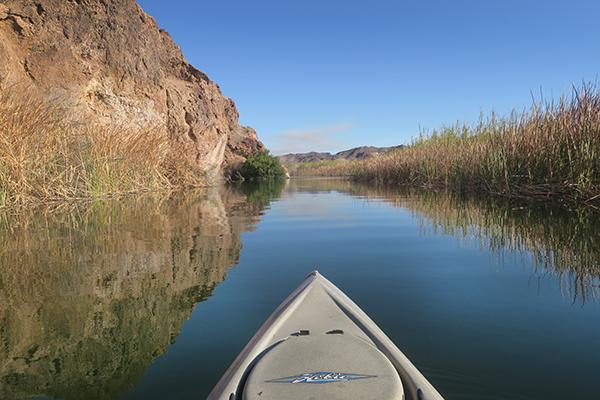 Kayak fishing at Squaw Lake near the lower Colorado River