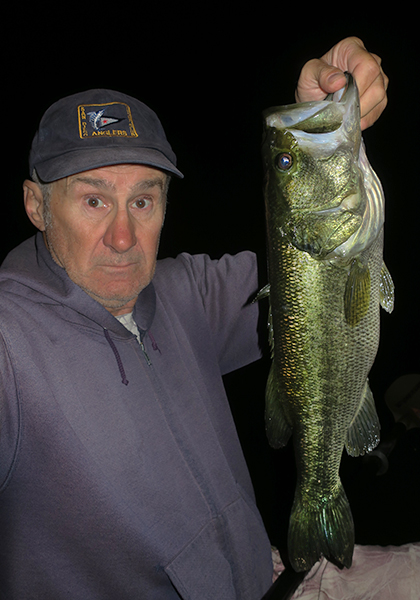 Big largemouth bass caught at night by watermanatwork.com kayak fisherman Ron Barbish