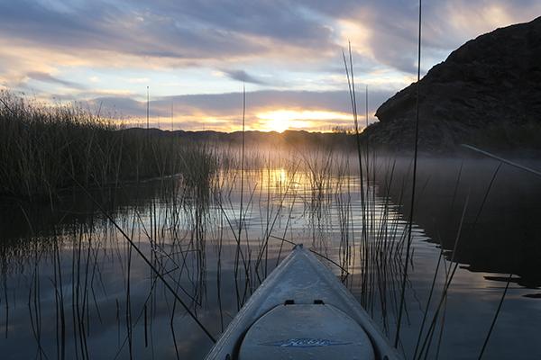 Sunrise over Squaw Lake near the lower Colorado River