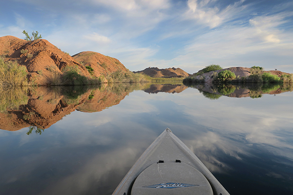 Beautiful late spring day for kayak fishing the backwaters of the Colorado River
