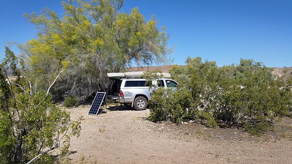 Desert kayak camping near the Colorado River