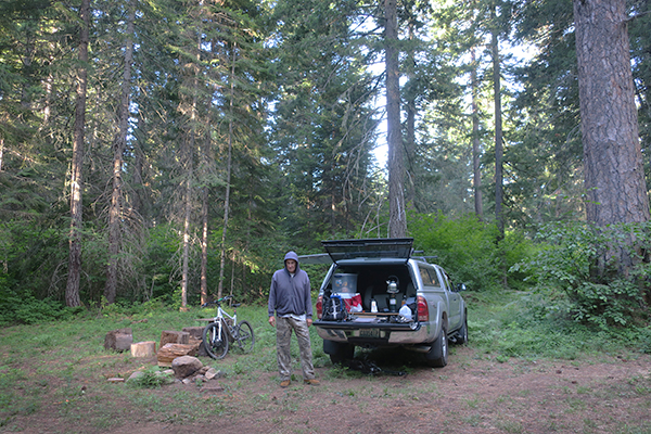 Morning at the MTB camp in the Cascade Mountains