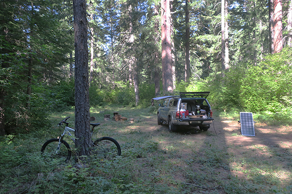 Early morning Cascade Mountain bike camp