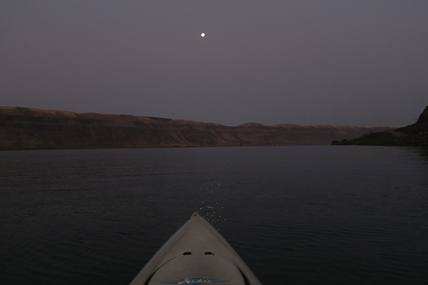 Harvest moon shines over the Columbia River