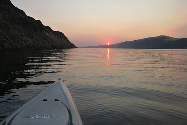 Smoky sunrise over the Columbia River