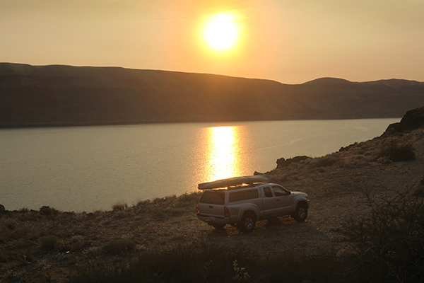 Smoky sunset over the Columbia River