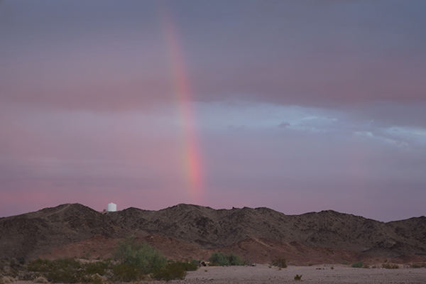 Rainbow from a passing desert rain storm