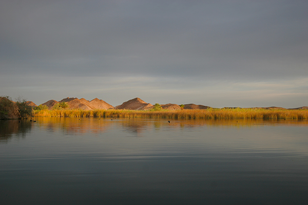 Overcast sunrise over the Colorado River