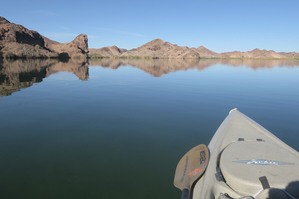 Perfect kayak fishing conditions on the lower Colorado River