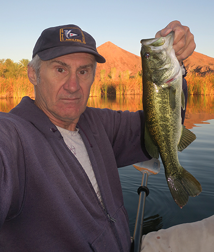 Colorado River largemouth bass caught at sunrise by watermanatwork.com kayak fisherman Ron Barbish