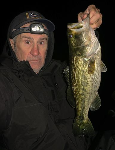 Nice Colorado River largemouth bass caught at night by watermanatwork.com kayak fisherman Ron Barbish