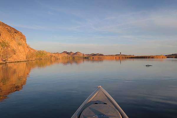 Perfect kayak fishing conditions on the Colorado River