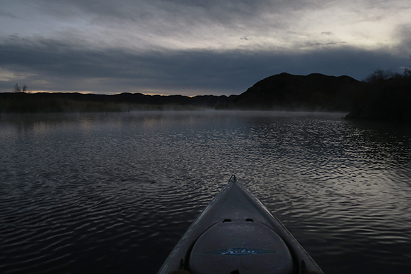 Wind picking up just before sunrise on the Colorado River