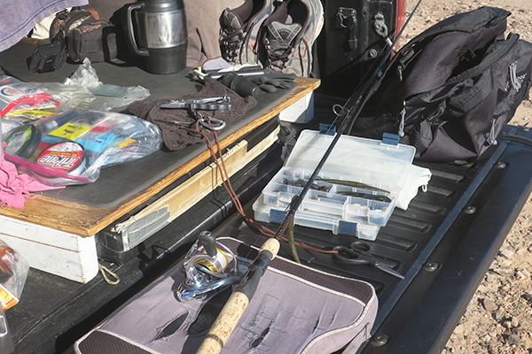 Getting the kayak fishing gear ready