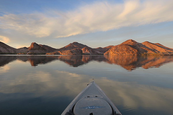 Glassy morning water conditions on the Colorado River