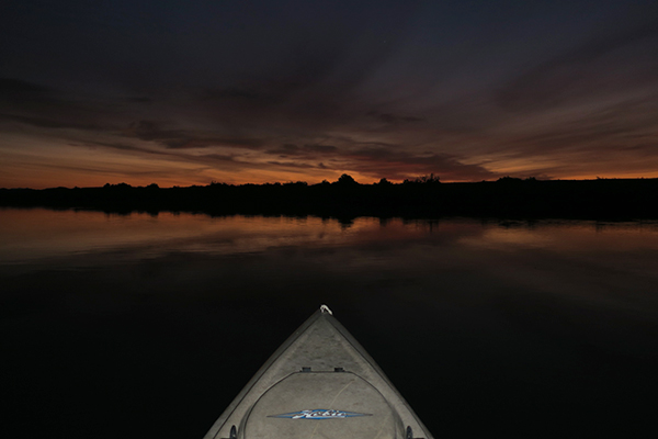 Dawn on a cloudy morning on the Colorado River