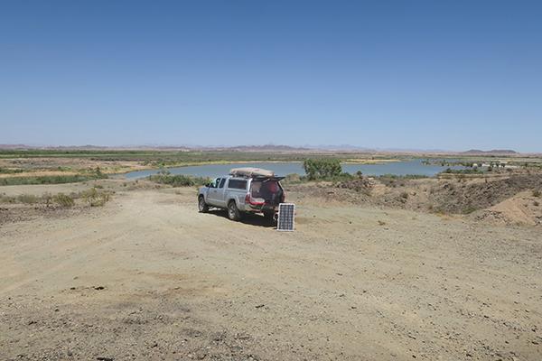 Kayak fishing camp near the Colorado River