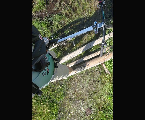 Water crossing on a Cascade Mountain bike adventure