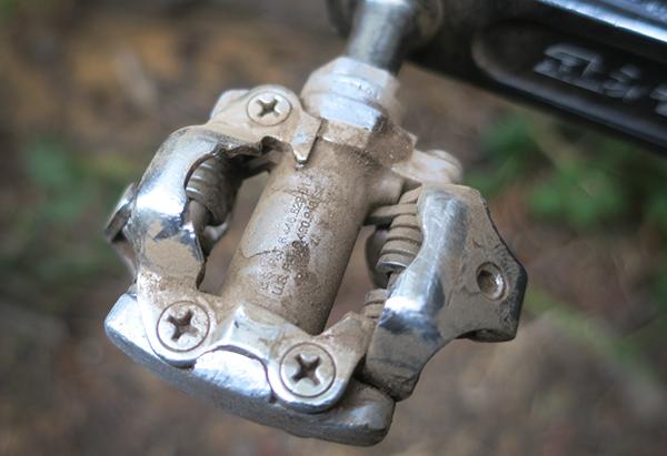 Dusty mountain bike pedal