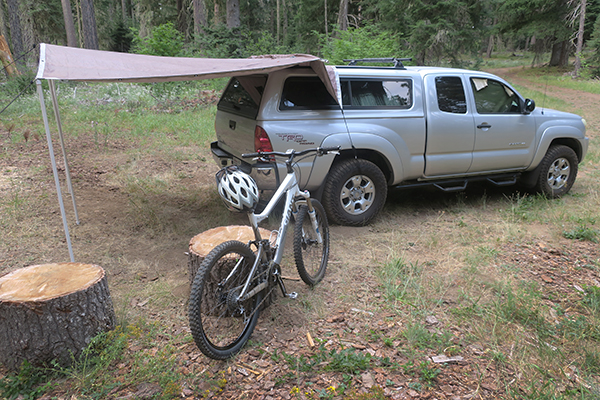 Overcast morning at MTB camp in the Cascade Mountains