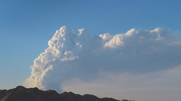 Fire from desert lightning strike